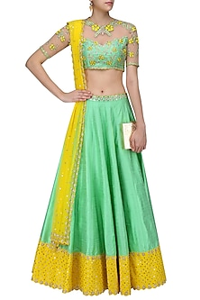 Green and Yellow Floral Embroidered Lehenga Set by Divya Reddy