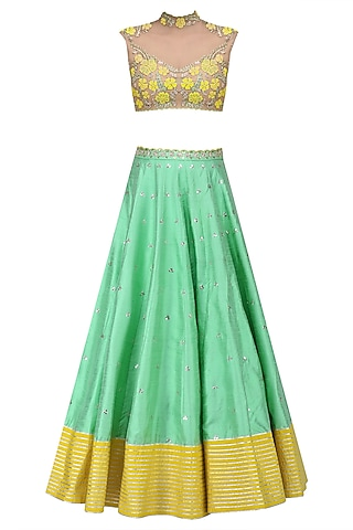 Green and Yellow Floral Embroidered Sheer Blouse and Lehenga Set by Divya Reddy