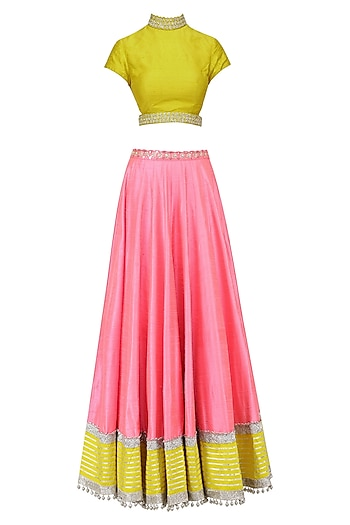 Mustard and Pink Embroidered Lehenga Set by Divya Reddy