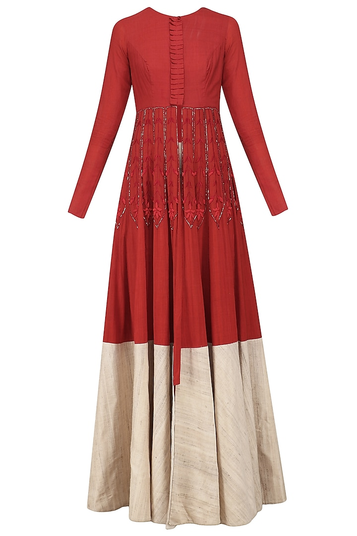 Red and Beige Embroidered Jacket Anarkali Set by Divya Reddy