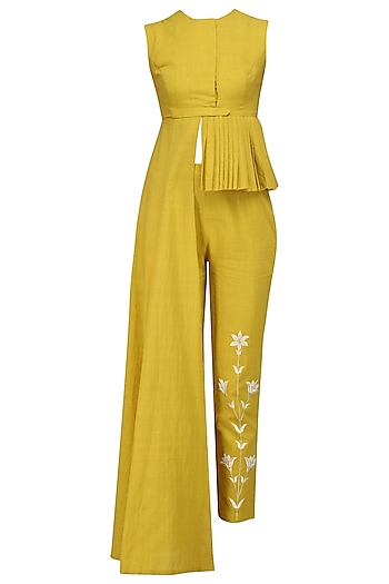 Tuscan Yellow Embroidered Crop Top and Pants Set by Divya Reddy