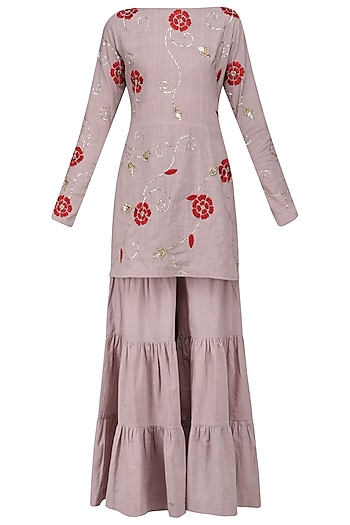 Lilac and Red Floral Embroidered Sharara Set by Divya Reddy