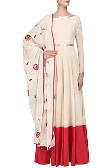 Ivory Floral Embroidered Anarkali Set by Divya Reddy