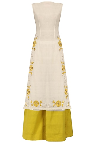 Ivory and Tuscan Yellow Embroidered Kurta Set by Divya Reddy