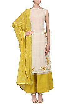 Ivory and Tuscan Yellow Embroidered Kurta Set by Divya Reddy