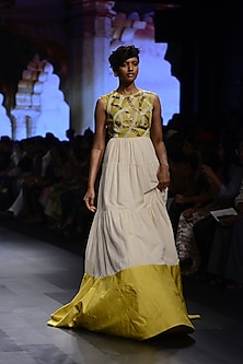 White and Mustard Yellow Embroidered Flared Gown by Divya Reddy
