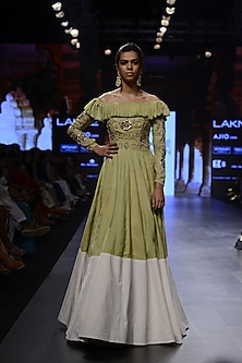 Pista Green and White Embroidered Off Shoulder Gown by Divya Reddy