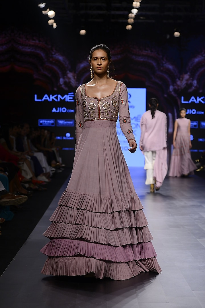 Lavender Floral Embroidered Frill Gown by Divya Reddy