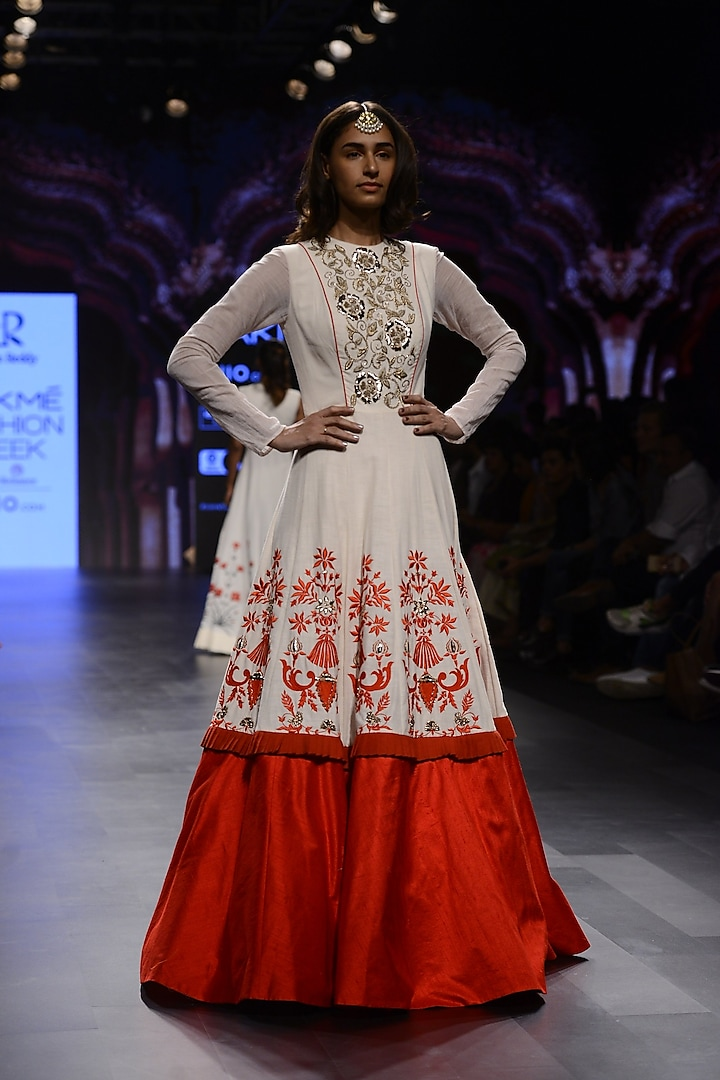 White and Red Floral Embroidered Gown by Divya Reddy