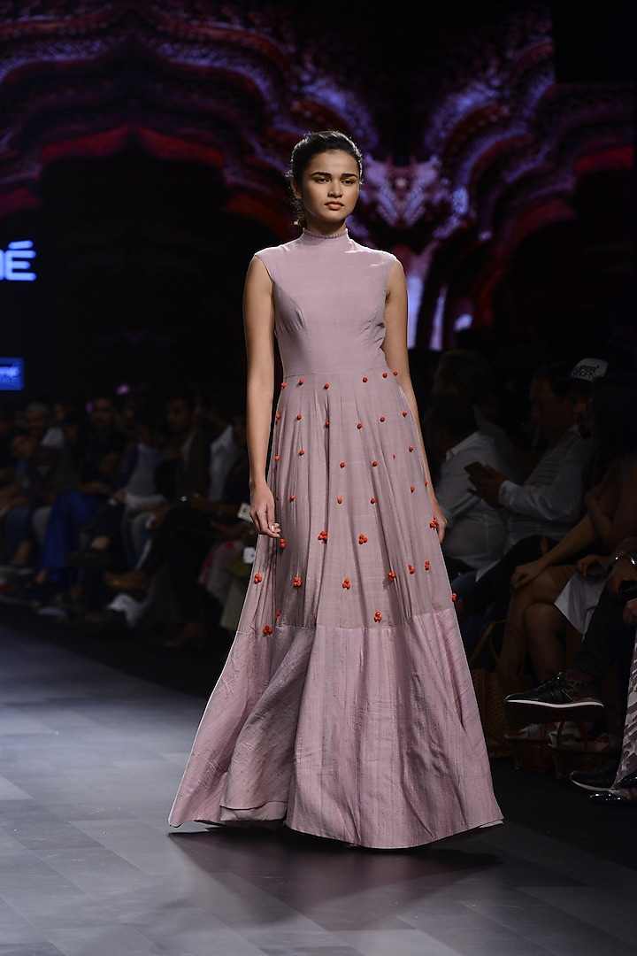 Lavender Beads Ball Gown by Divya Reddy