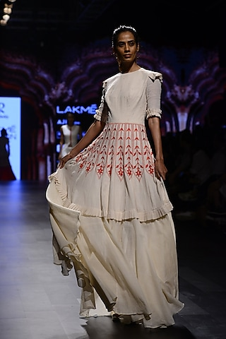 Off White and Red Floral Embroiderd Frill Gown by Divya Reddy