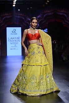 Mustard Yellow and Red Floral Embroidered Lehenga Set by Divya Reddy