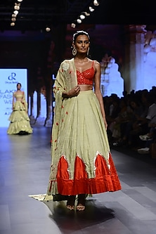 Pista Green and Red Embroidered Lehenga Set by Divya Reddy