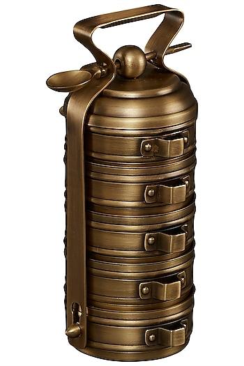 Gold Brassware Cylinder Tiffin & Spoon by Ritu Kumar Home