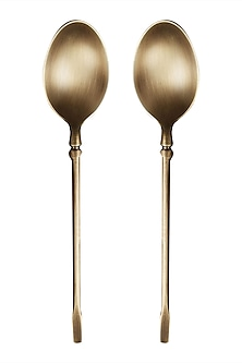 Golden Brass Spoon (Set Of 2) by Ritu Kumar Home