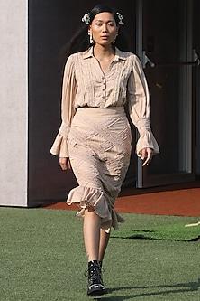 Beige Ruffled Midi Skirt by DOOR OF MAAI