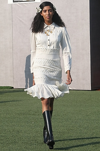 White Embroidered Ruffled Collared Dress by DOOR OF MAAI