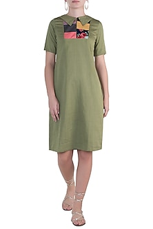 Military green midi dress by DOOR OF MAAI