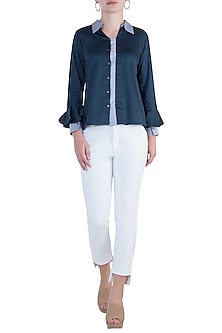 Navy blue button down blouse by DOOR OF MAAI