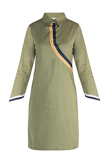 Military green straight fit shirt dress by DOOR OF MAAI