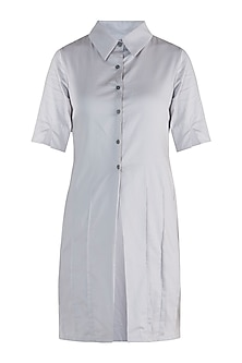 Light grey straight fit tunic dress by DOOR OF MAAI