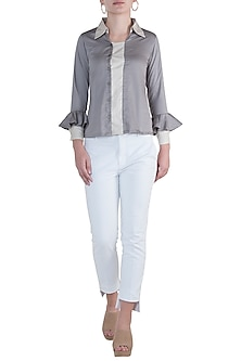 Ash grey button down blouse by DOOR OF MAAI