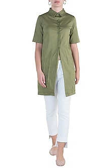 Military green straight fit tunic dress by DOOR OF MAAI