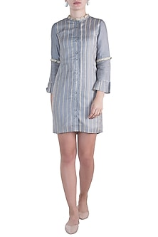 Steel grey ruffled mini dress by DOOR OF MAAI