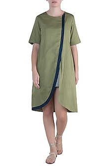 Military green tunic dress by DOOR OF MAAI