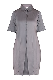 Ash grey straight fit tunic dress by DOOR OF MAAI