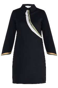 Black straight fit shirt dress by DOOR OF MAAI