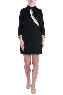 Black straight fit shirt dress by DOOR OF MAAI