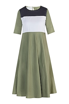 Military green maxi dress by DOOR OF MAAI