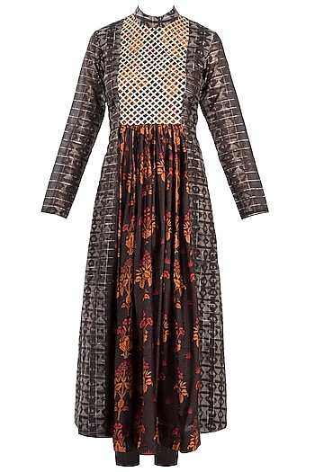 Brown Embroidered Printed Pleated Tunic With Pants by Drishti & Zahabia