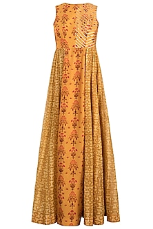 Mustard Embroidered Printed Gathered Maxi Dress by Drishti & Zahabia
