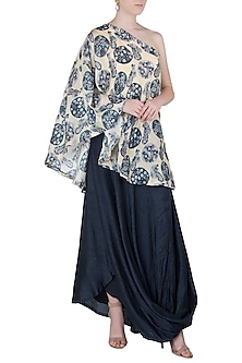 Blue and Off White One Shoulder Tunic with Cowl Skirt by Drishti & Zahabia
