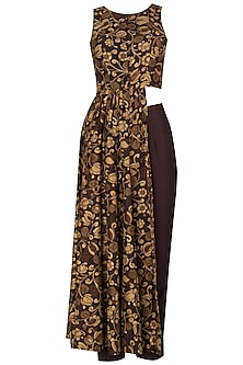 Brown Printed Asymmetrical Tunic with Pleated Pants by Drishti & Zahabia