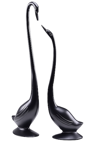 Black Aluminum Swan Showpiece (Set of 2) by Sammsara