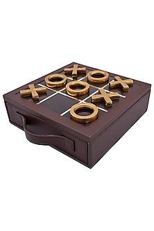 Brown Leather & Aluminum Tic Tac Toe Set Showpiece by Sammsara