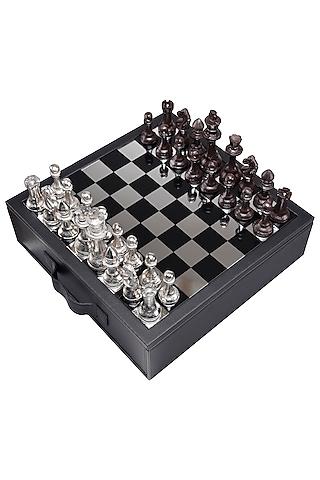 Black Leather & Aluminum Chess Set  Showpiece by Sammsara