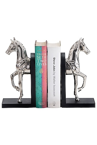 Silver Aluminum Horse Shaped Bookends (Set of 2) by Sammsara