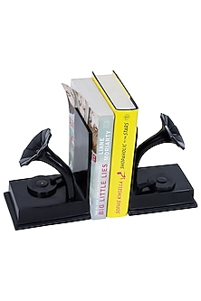 Brown Aluminum Gramophone Shaped Bookends (Set of 2) by Sammsara