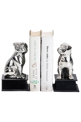 Silver Aluminum Pugsy Bookends (Set of 2) by Sammsara