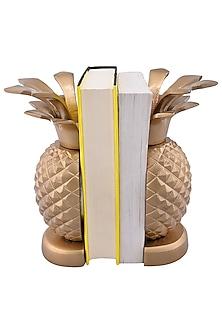 Golden Aluminum Pineapple Bookends (Set of 2) by Sammsara