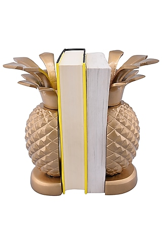 Golden Aluminum Pineapple Bookends (Set of 2) by Sammsara