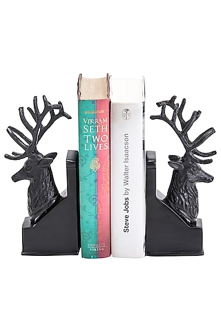 Brown Aluminum Deer Shaped Bookends (Set of 2) by Sammsara