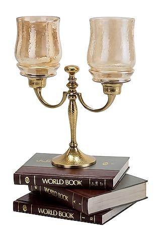 Golden  Aluminum & Glass Hammered Dual Lite Candle Holder by Sammsara