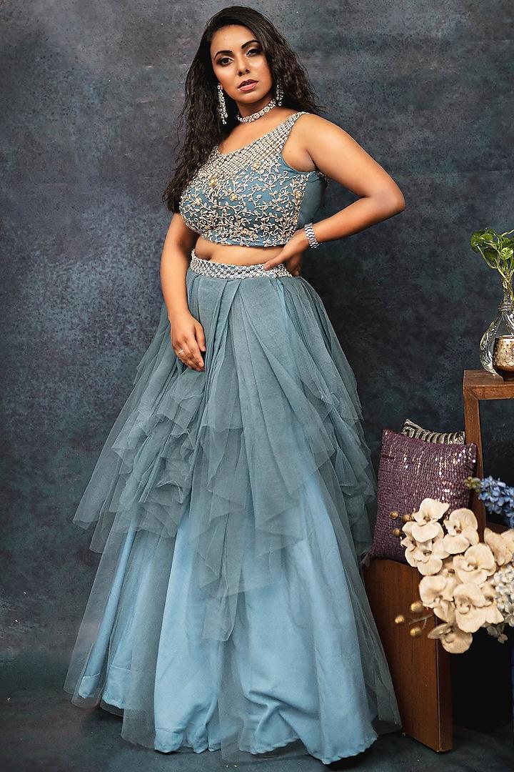 Grey Net Pleated Draped Skirt Set by Dhara Shah Studio