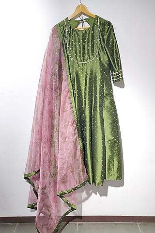 Green Anarkali Set With Zari Work by Dhara Shah Studio