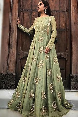 Green Organza Gown With Zardosi Work by Dhara Shah Studio